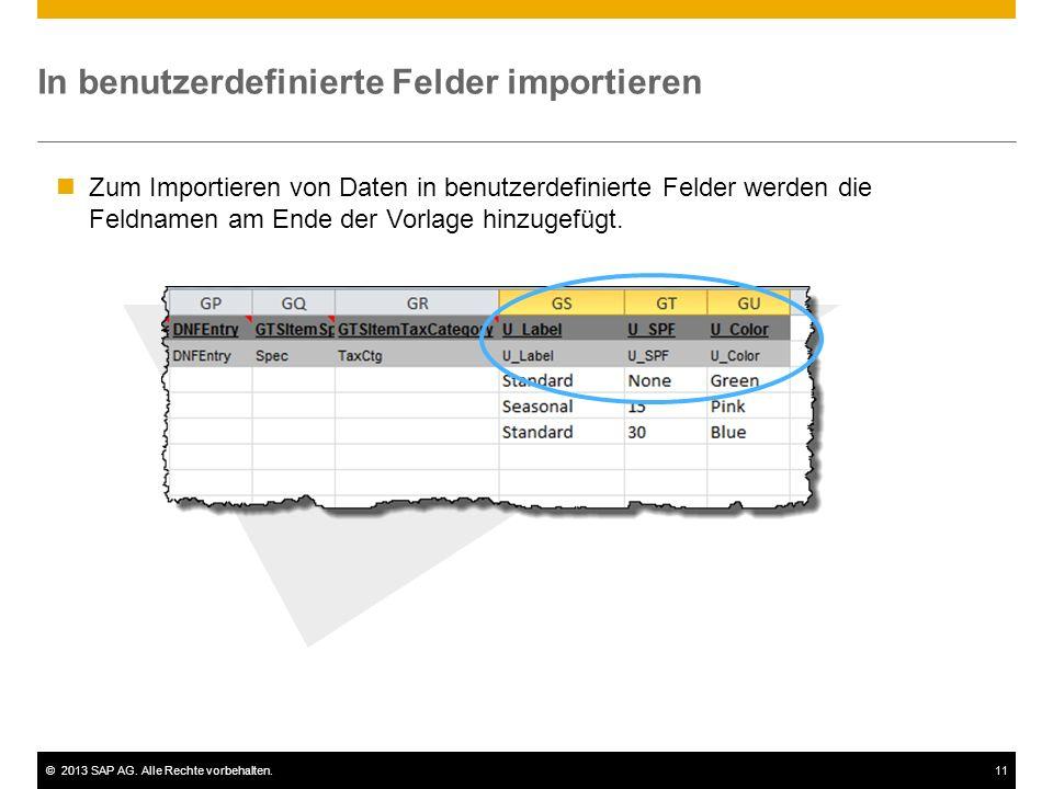 In benutzerdefinierte Felder importieren