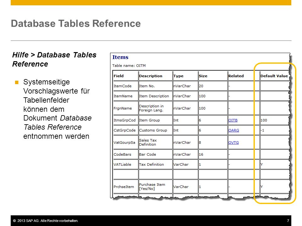 Database Tables Reference