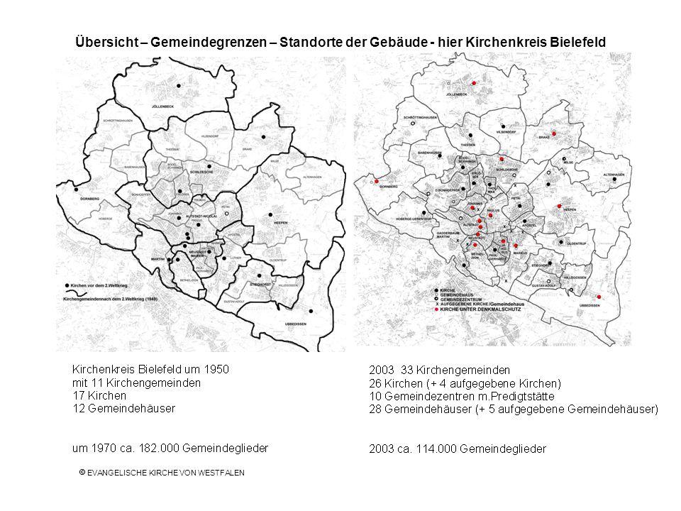 Übersicht – Gemeindegrenzen – Standorte der Gebäude - hier Kirchenkreis Bielefeld