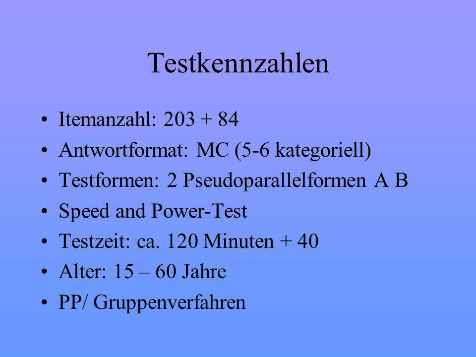 Testkennzahlen Itemanzahl: 203 + 84