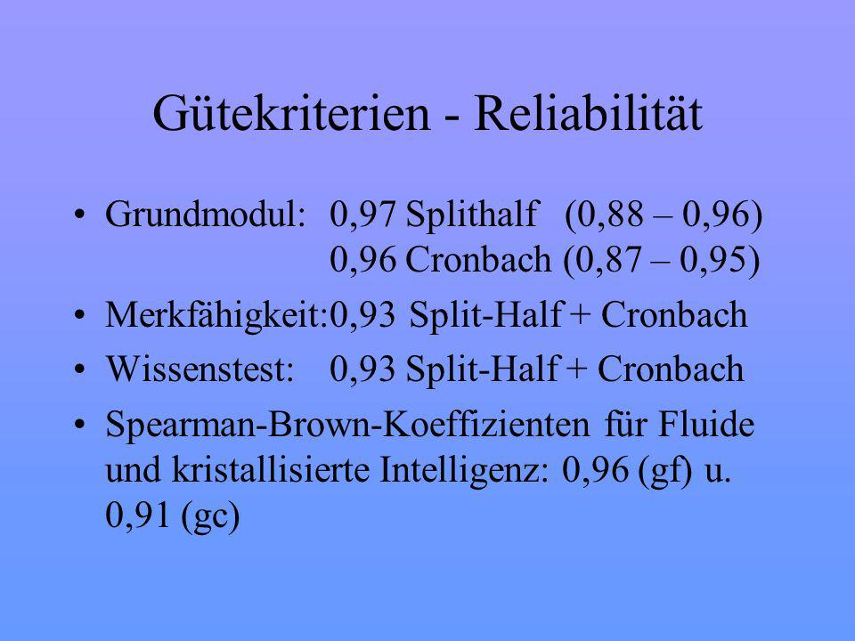 Gütekriterien - Reliabilität