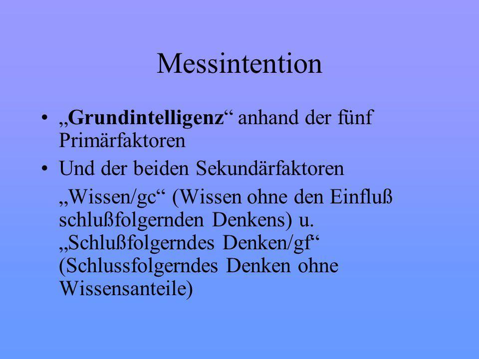 """Messintention """"Grundintelligenz anhand der fünf Primärfaktoren"""