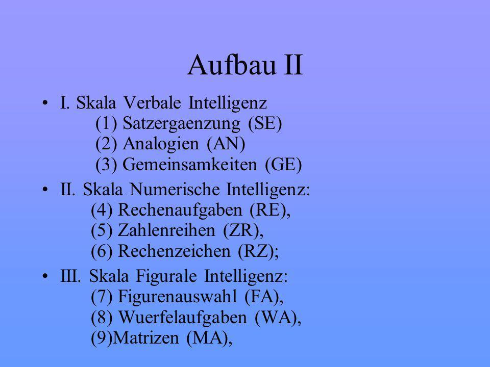 Aufbau II I. Skala Verbale Intelligenz (1) Satzergaenzung (SE) (2) Analogien (AN) (3) Gemeinsamkeiten (GE)