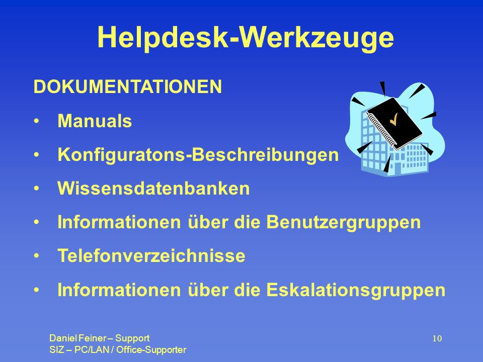 Helpdesk-Werkzeuge DOKUMENTATIONEN Manuals