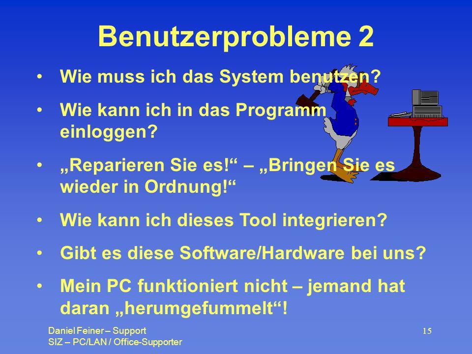 Benutzerprobleme 2 Wie muss ich das System benutzen