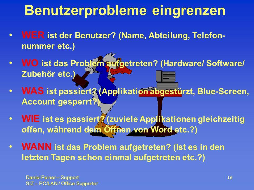 Benutzerprobleme eingrenzen
