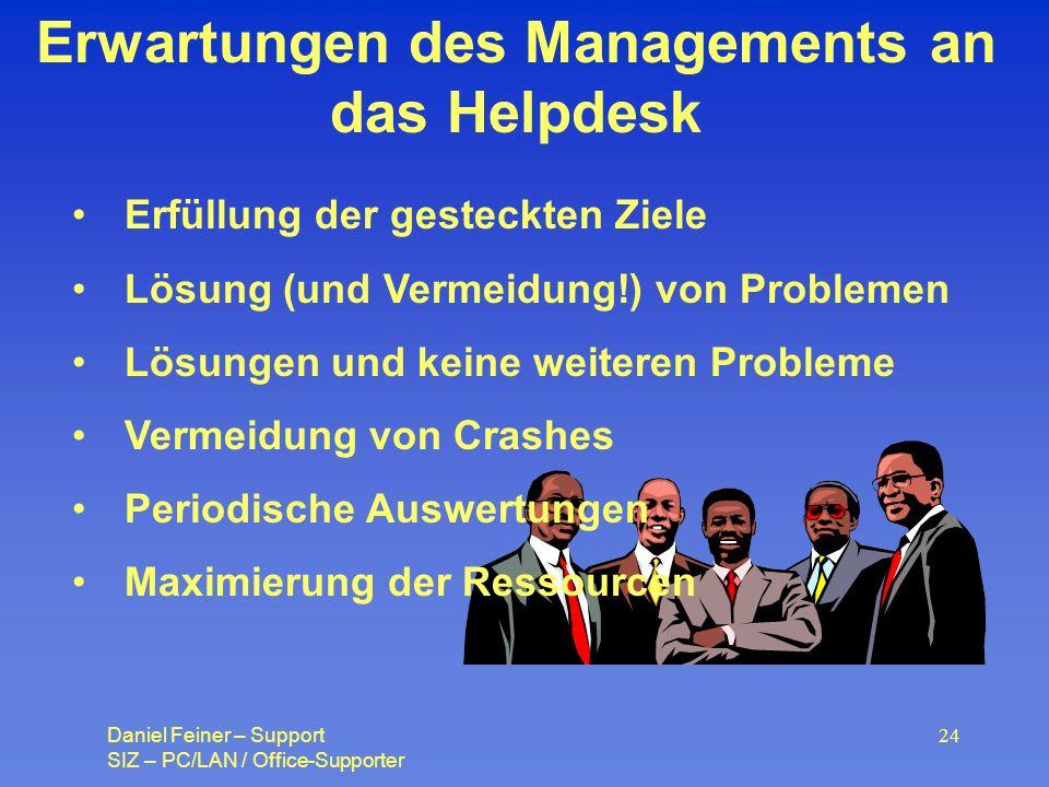 Erwartungen des Managements an das Helpdesk
