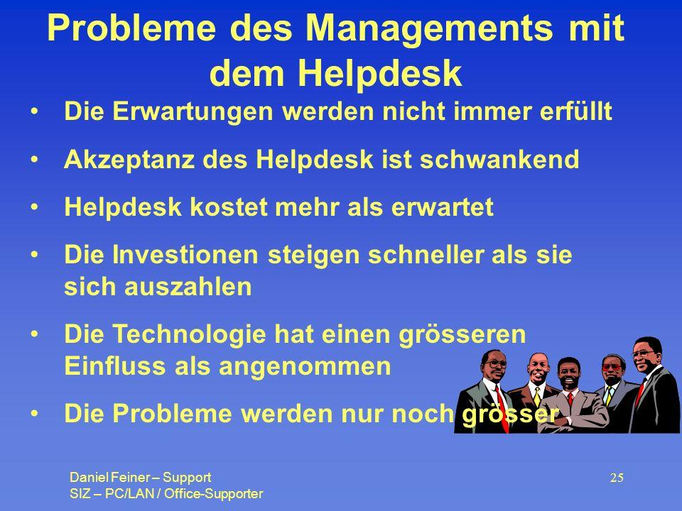 Probleme des Managements mit dem Helpdesk