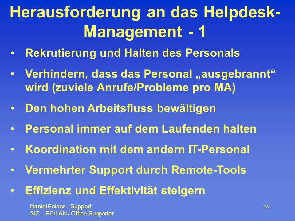 Herausforderung an das Helpdesk-Management - 1