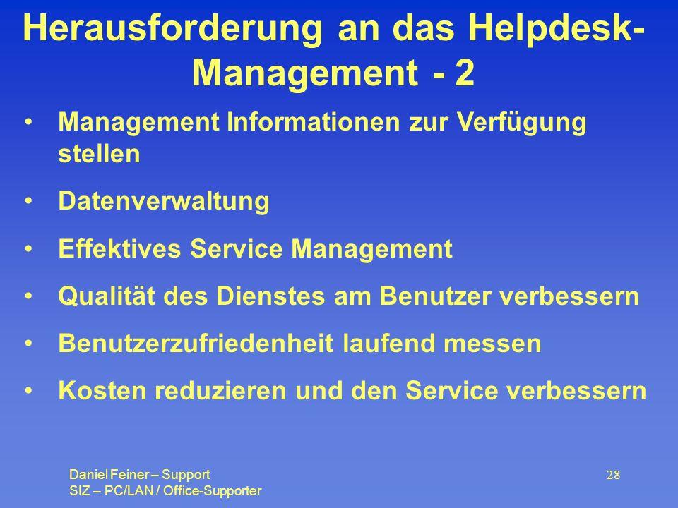 Herausforderung an das Helpdesk-Management - 2