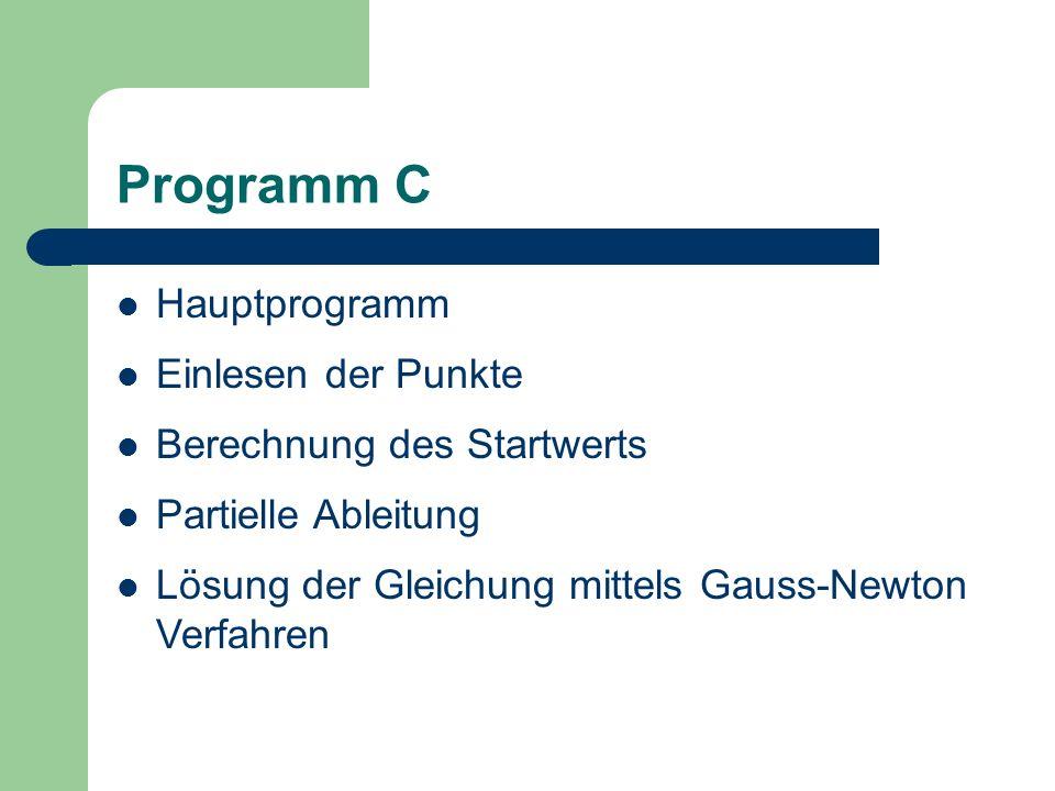 Programm C Hauptprogramm Einlesen der Punkte Berechnung des Startwerts
