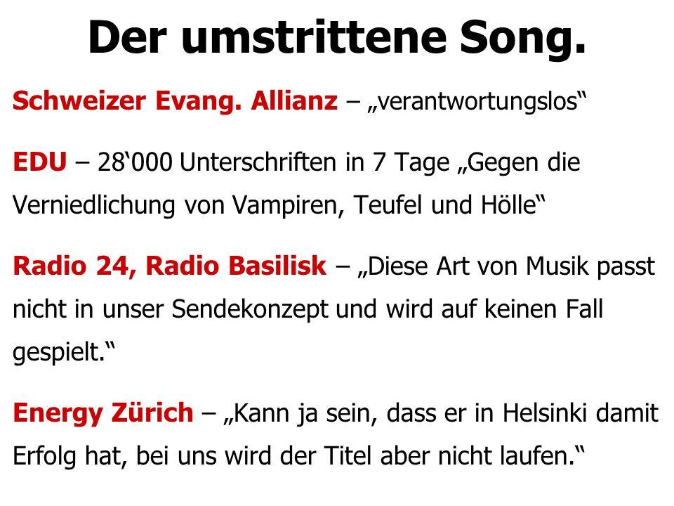"""Der umstrittene Song. Schweizer Evang. Allianz – """"verantwortungslos"""