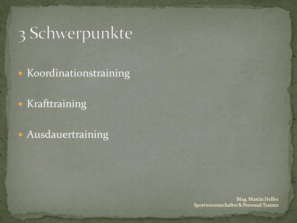 3 Schwerpunkte Koordinationstraining Krafttraining Ausdauertraining