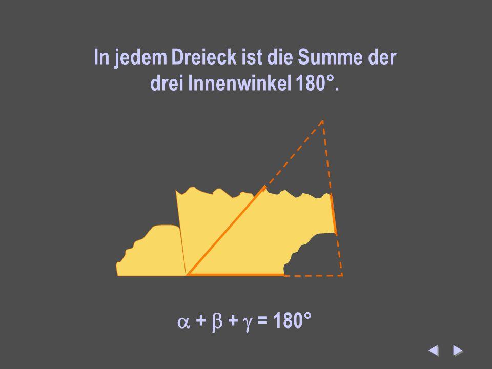 In jedem Dreieck ist die Summe der drei Innenwinkel 180°.