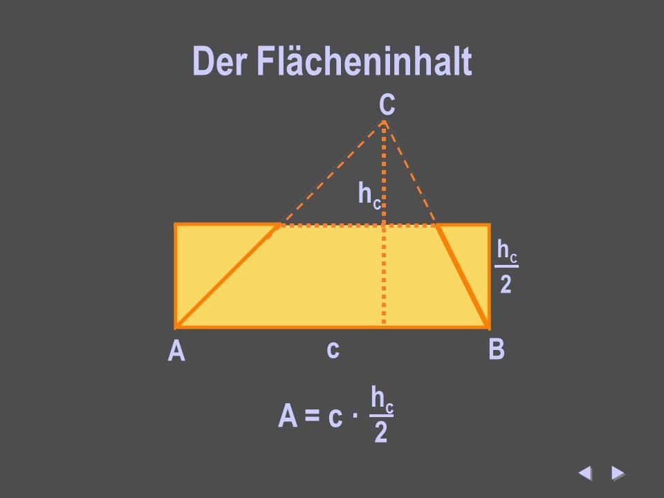 Der Flächeninhalt C hc hc 2 A c B A = c · hc 2  