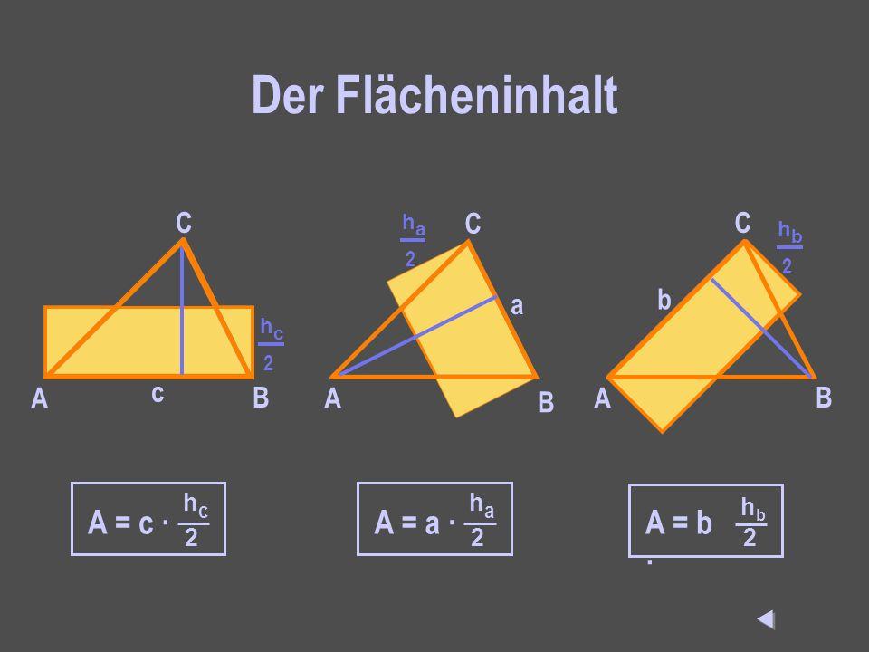 Der Flächeninhalt A = c · A = a · A = b · C C C a b c A B A B A B  hc