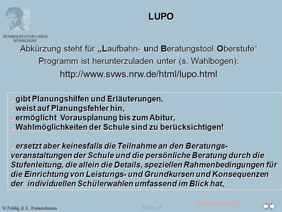 LUPO http://www.svws.nrw.de/html/lupo.html