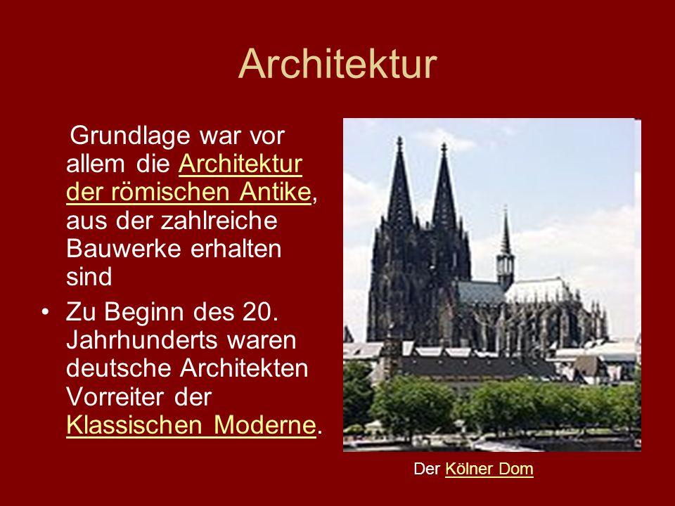Architektur Grundlage war vor allem die Architektur der römischen Antike, aus der zahlreiche Bauwerke erhalten sind.