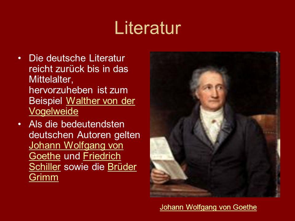 Literatur Die deutsche Literatur reicht zurück bis in das Mittelalter, hervorzuheben ist zum Beispiel Walther von der Vogelweide.