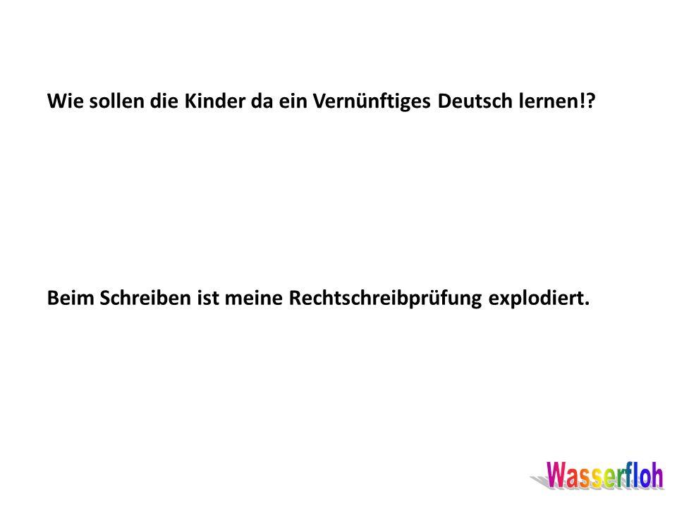 Wie sollen die Kinder da ein Vernünftiges Deutsch lernen!