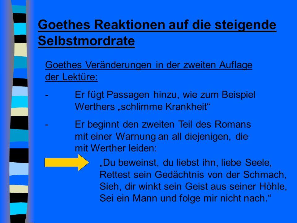 Goethes Reaktionen auf die steigende Selbstmordrate