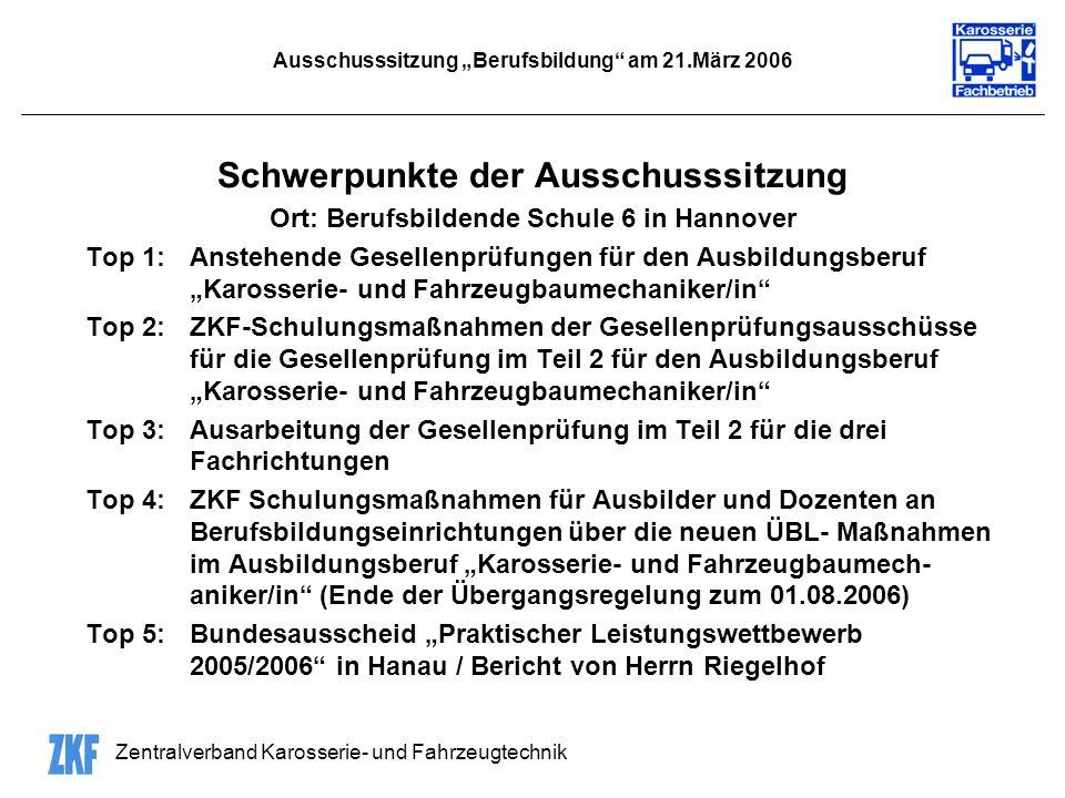 "Ausschusssitzung ""Berufsbildung am 21.März 2006"