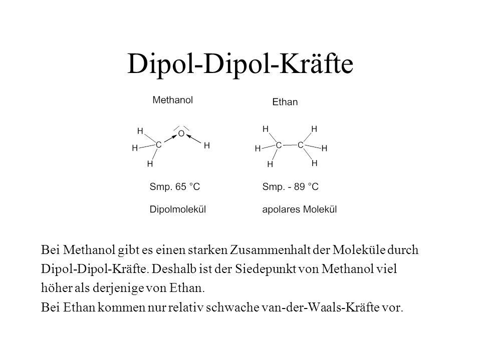Dipol-Dipol-Kräfte Bei Methanol gibt es einen starken Zusammenhalt der Moleküle durch.
