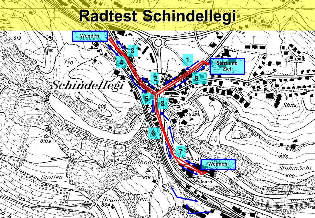 Radtest Schindellegi Wenden 3 1 4 Start und Ziel 2 9 5 8 6 7 Wenden