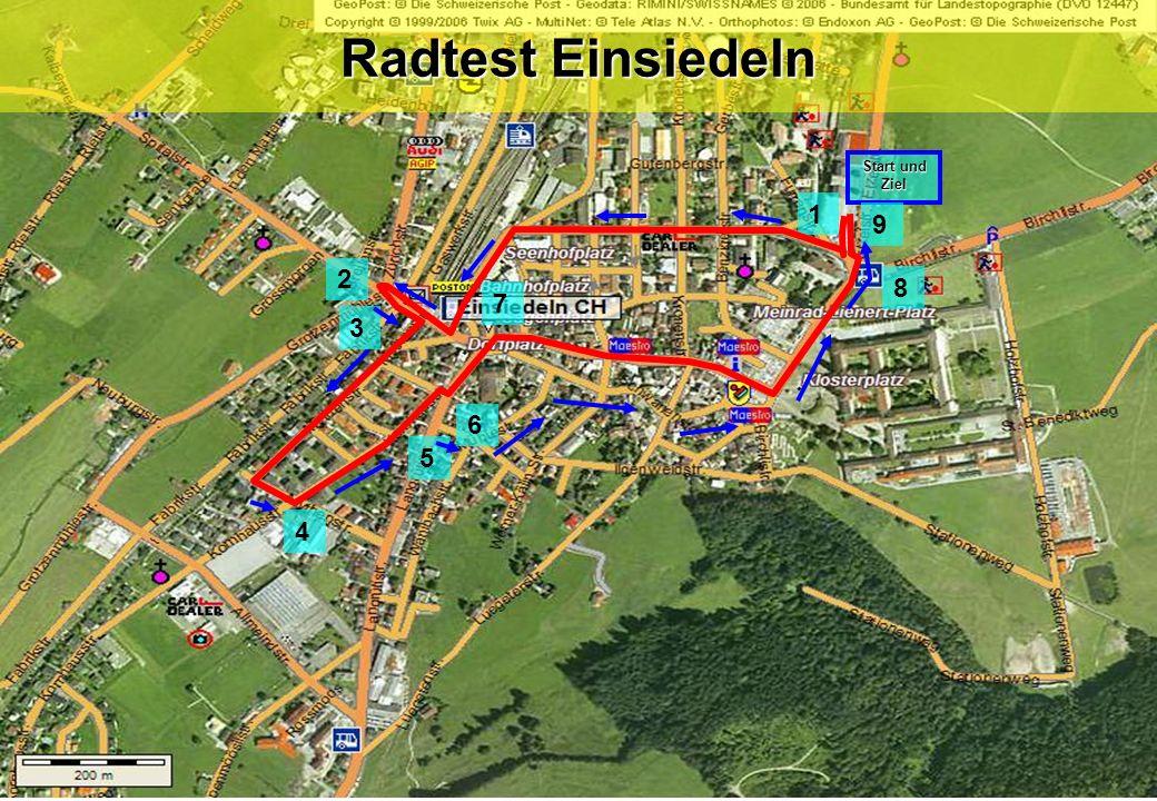 Radtest Einsiedeln Start und Ziel 1 9 2 8 7 3 6 5 4