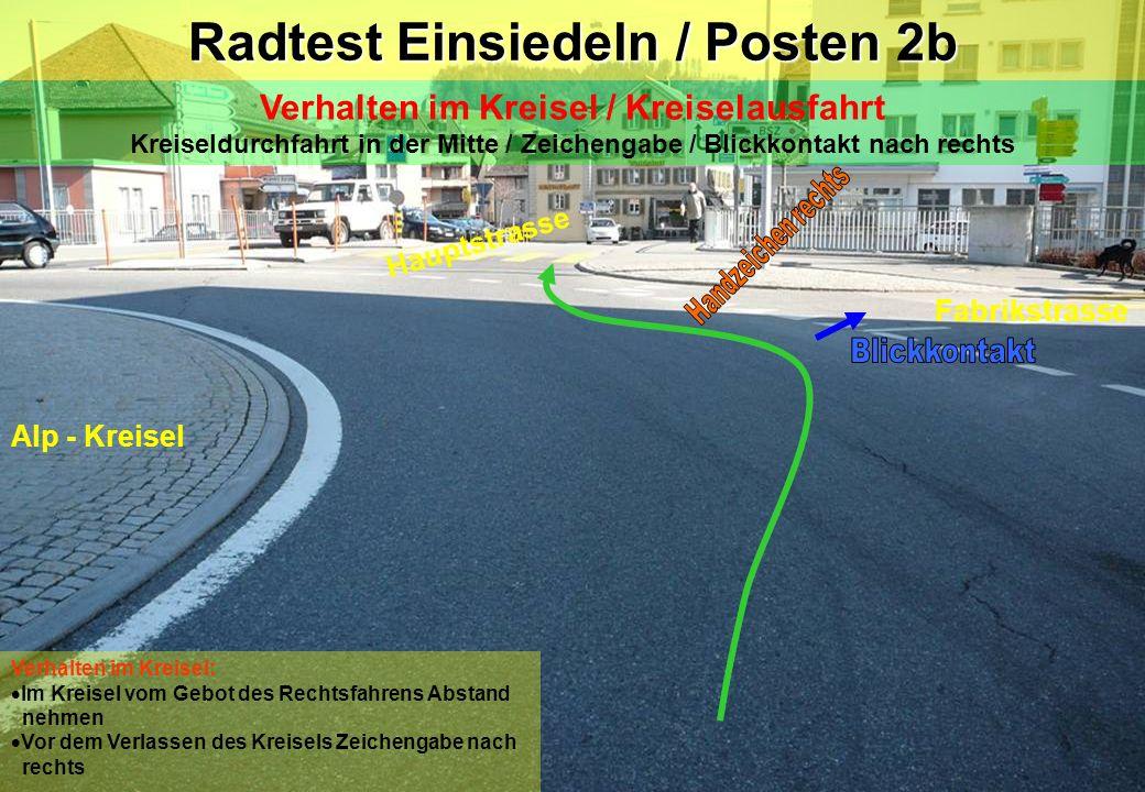 Radtest Einsiedeln / Posten 2b