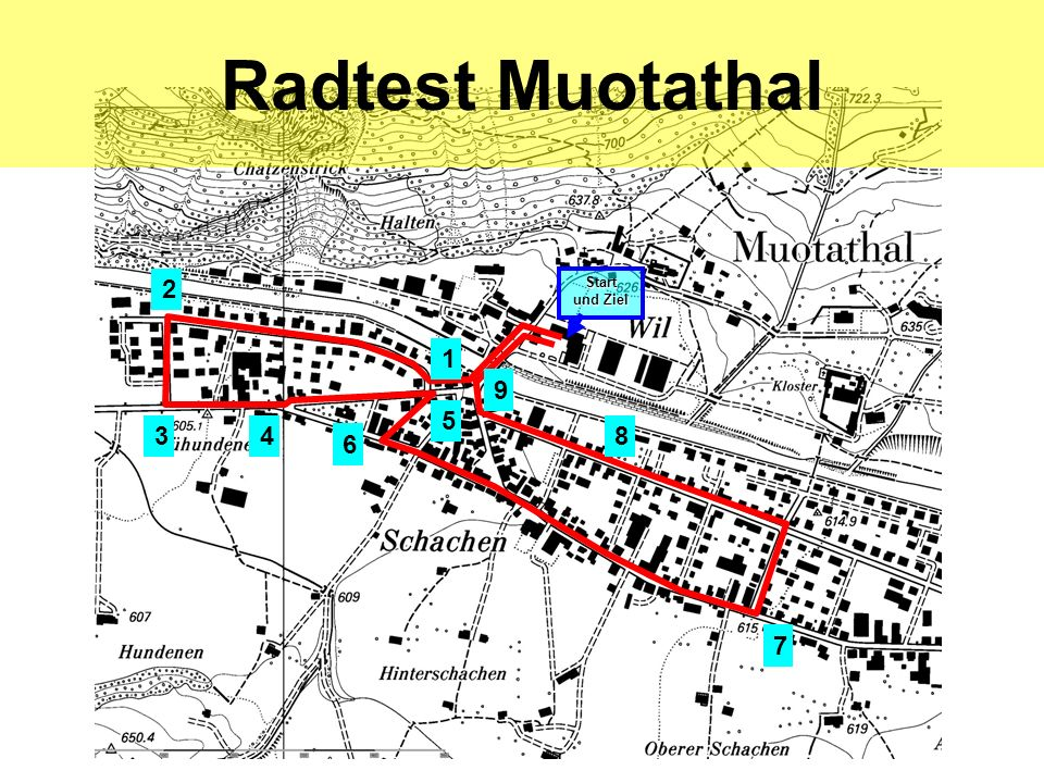 Radtest Muotathal 2 Start und Ziel 1 9 5 3 4 8 6 7 hea / 21.02.06