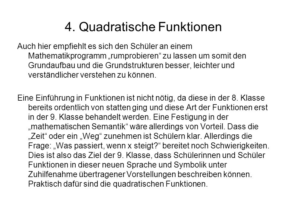 4. Quadratische Funktionen