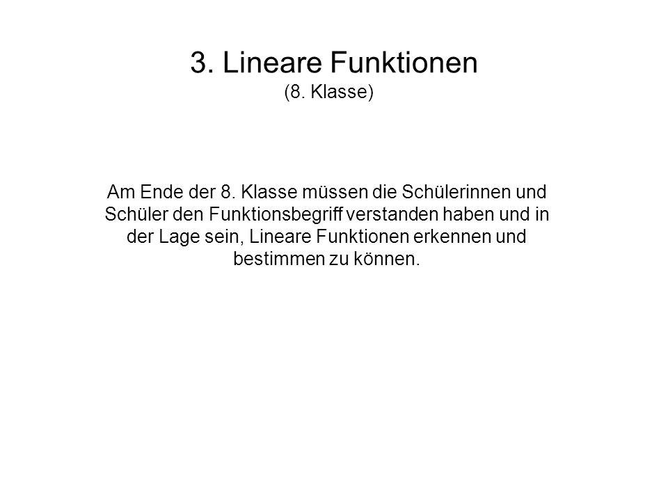 3. Lineare Funktionen (8. Klasse)