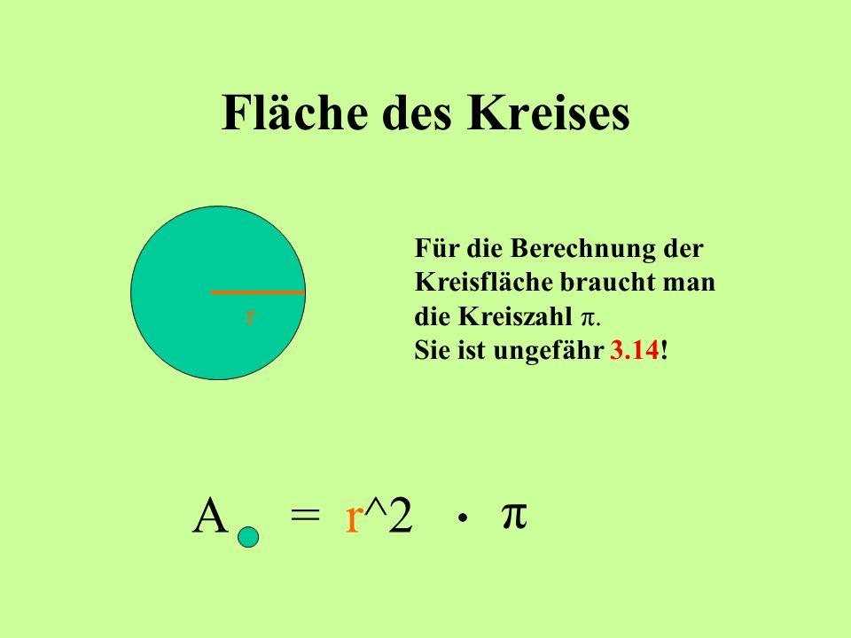 Fläche des Kreises A = r^2 π