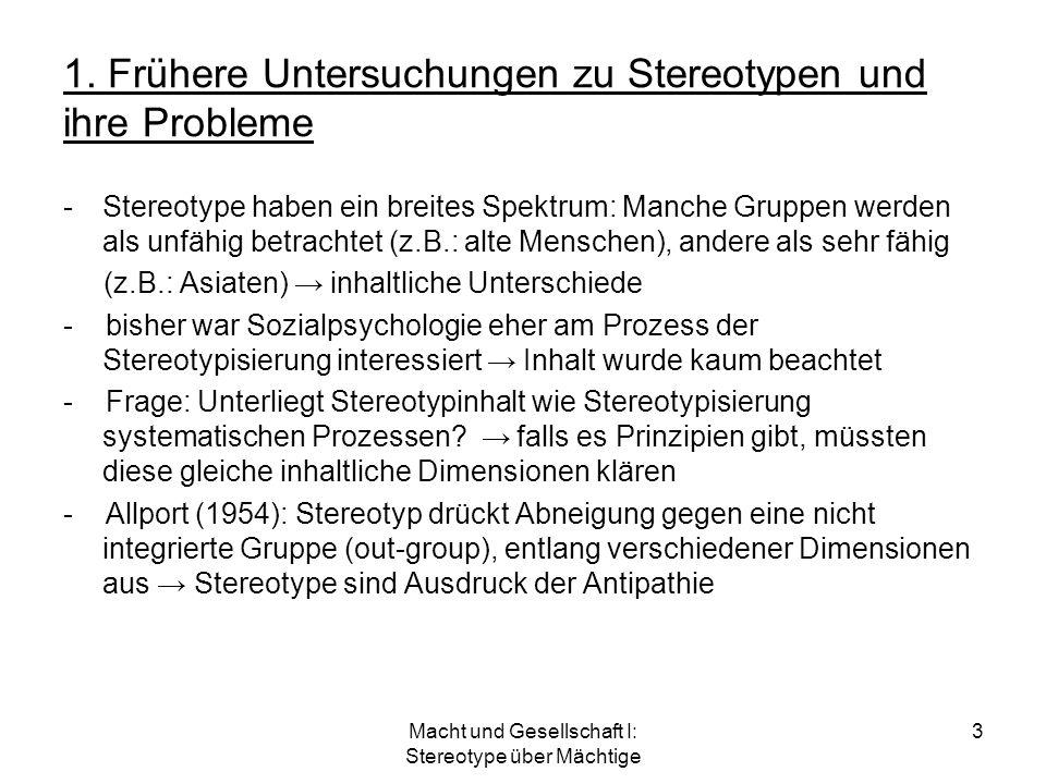 1. Frühere Untersuchungen zu Stereotypen und ihre Probleme