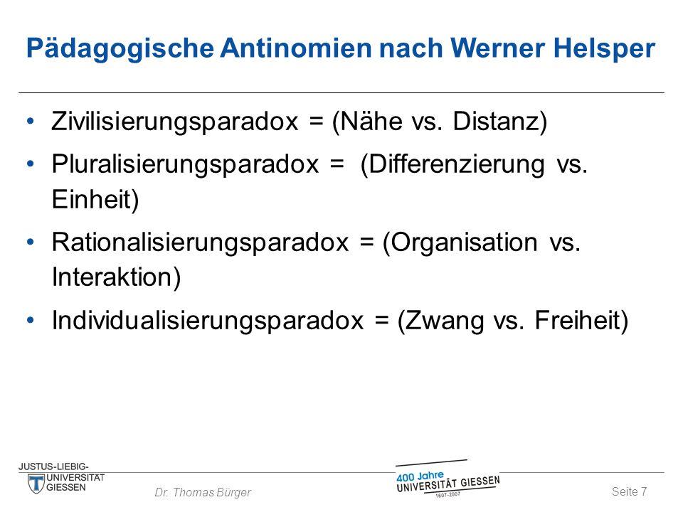 Pädagogische Antinomien nach Werner Helsper