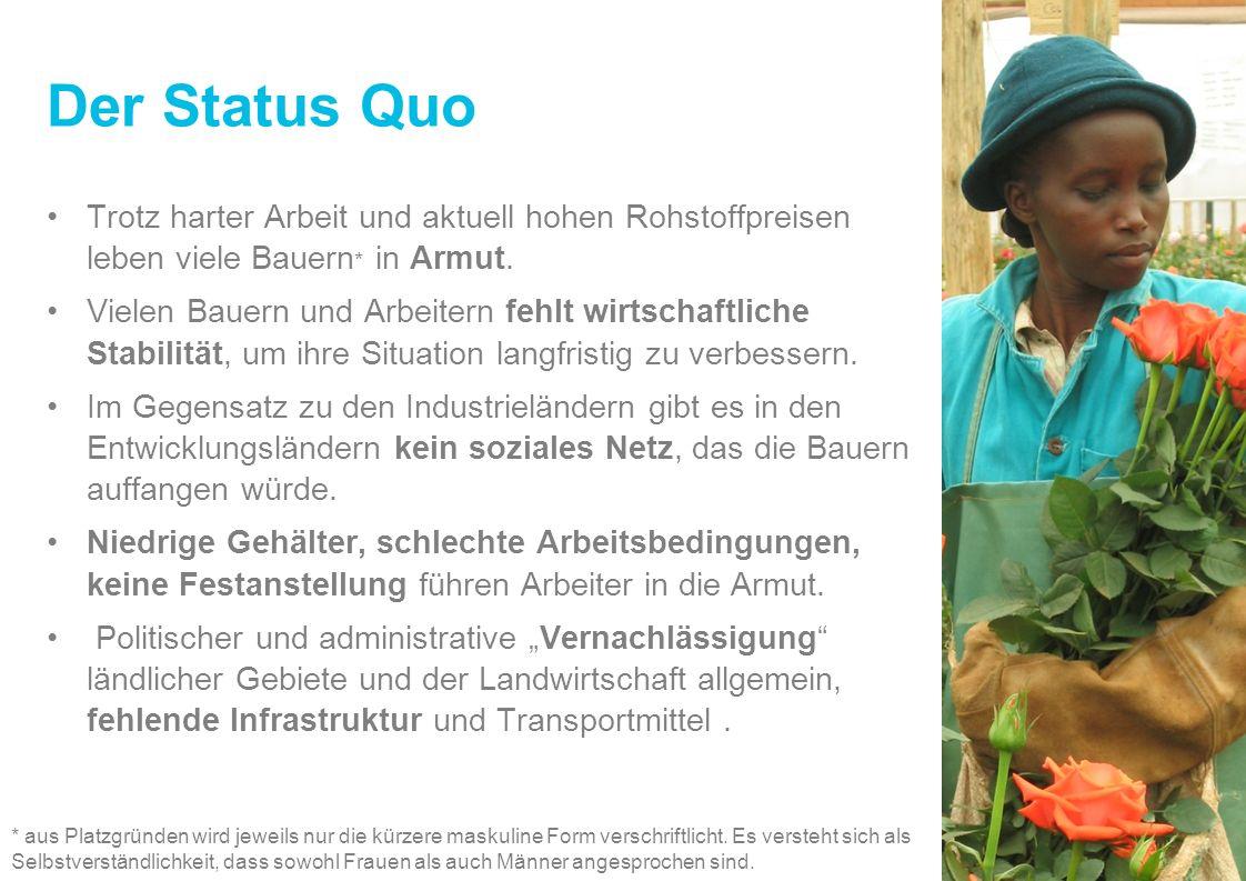 Der Status Quo Trotz harter Arbeit und aktuell hohen Rohstoffpreisen leben viele Bauern* in Armut.