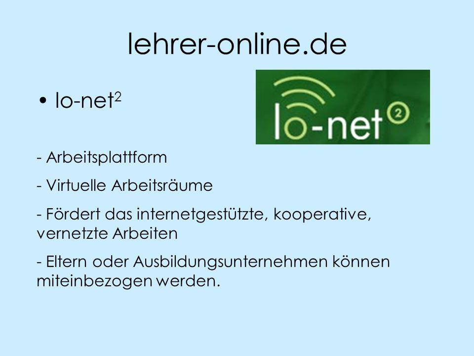 lehrer-online.de lo-net2 - Arbeitsplattform - Virtuelle Arbeitsräume