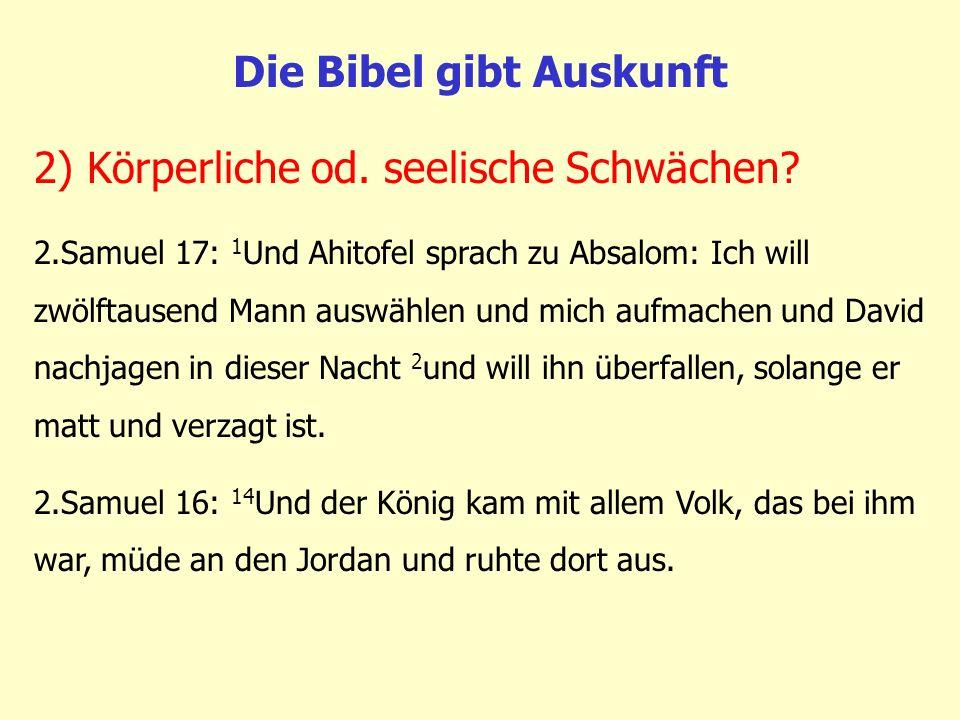 Die Bibel gibt Auskunft