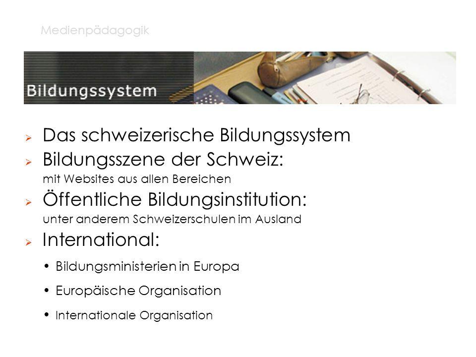 Das schweizerische Bildungssystem Bildungsszene der Schweiz: