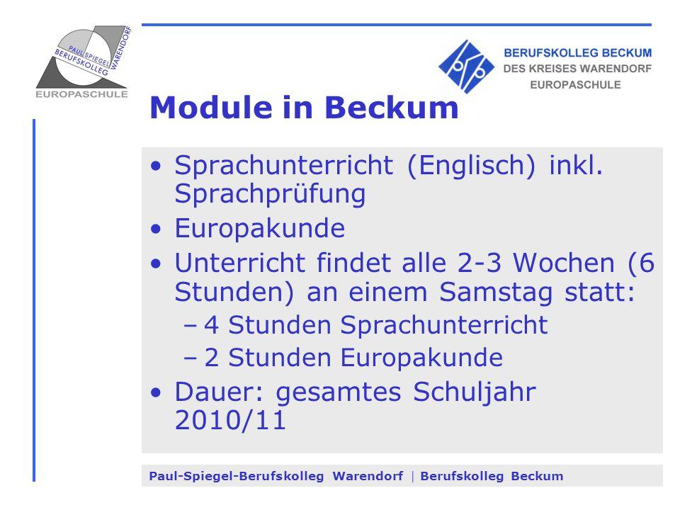 Module in Beckum Sprachunterricht (Englisch) inkl. Sprachprüfung