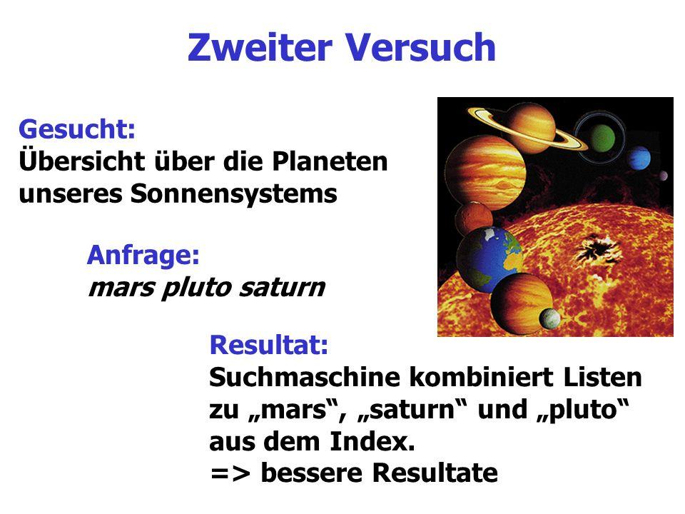 Zweiter Versuch Gesucht: Übersicht über die Planeten