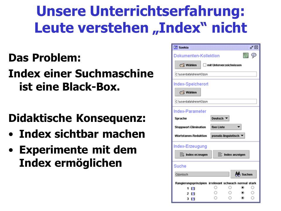 """Unsere Unterrichtserfahrung: Leute verstehen """"Index nicht"""