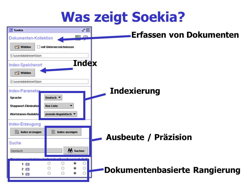 Was zeigt Soekia Erfassen von Dokumenten Index Indexierung