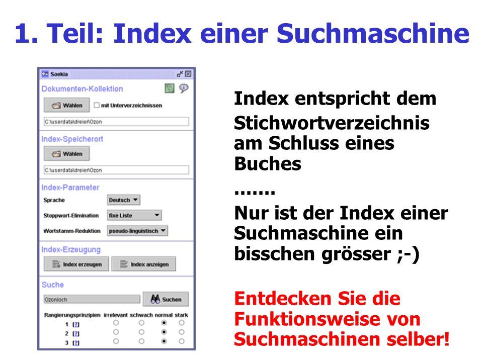 1. Teil: Index einer Suchmaschine