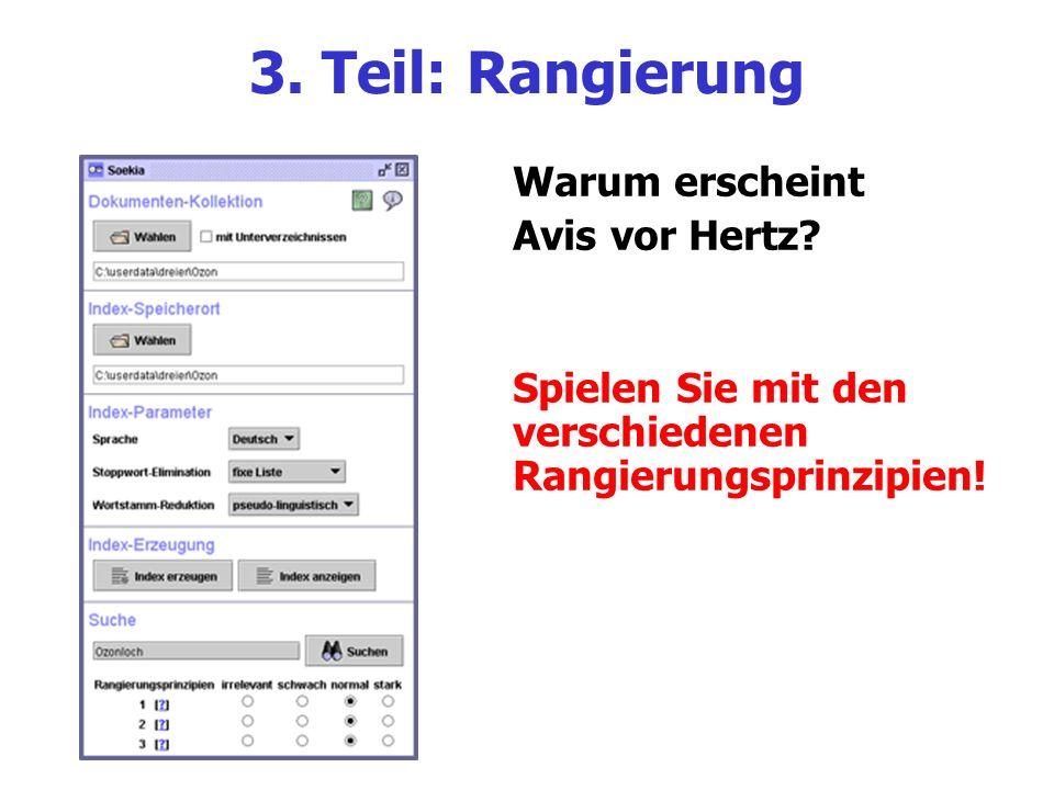 3. Teil: Rangierung Warum erscheint Avis vor Hertz