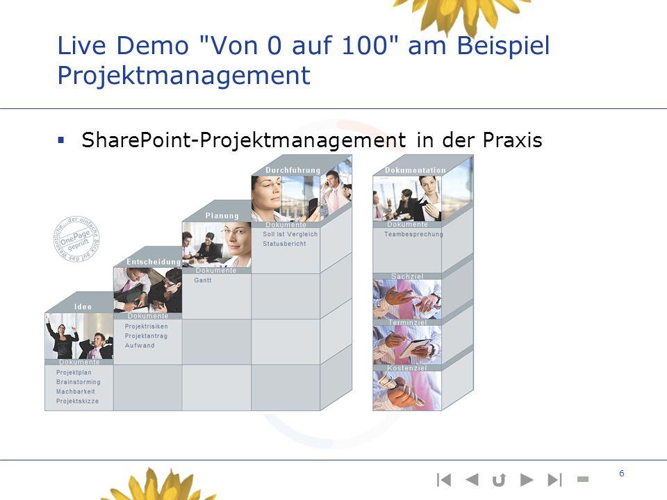 Live Demo Von 0 auf 100 am Beispiel Projektmanagement