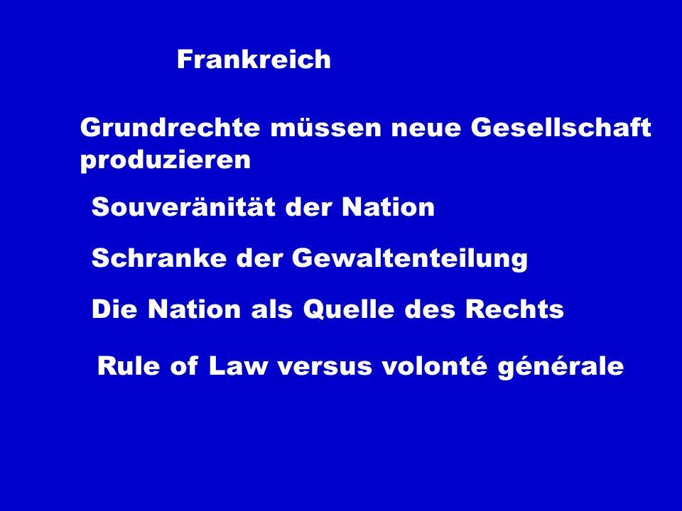 FrankreichGrundrechte müssen neue Gesellschaft. produzieren. Souveränität der Nation. Schranke der Gewaltenteilung.