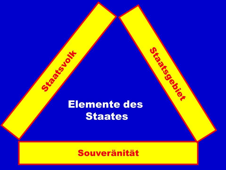 Staatsvolk Staatsgebiet Elemente des Staates Souveränität