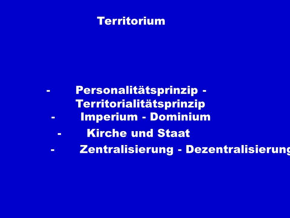 Territorium- Personalitätsprinzip - Territorialitätsprinzip. - Imperium - Dominium. - Kirche und Staat.